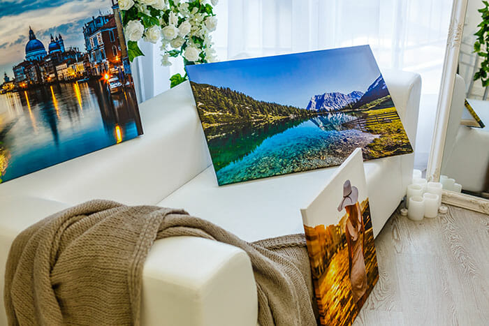 photos printed on to canvas