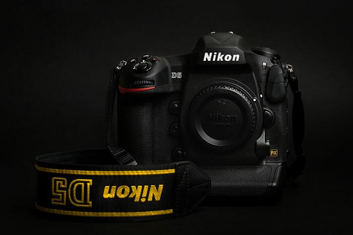 Nikon camera on black background D5 best camera for beginners