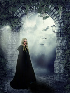 How to Photoshop Photos together - witch and the archway example